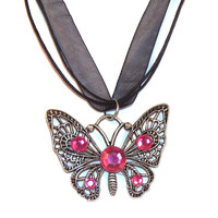 Butterfly Necklace With Pink Crystals - Butterfly Pendant - Butterfly Jewelry - Ribbon Neckalce - Pink Crystal Neckalce - Silver Necklace