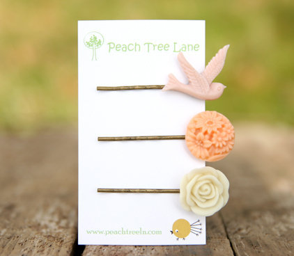 Pale Pink Swallow Bird Hairpin, Peach Flower Hairpin, Cream-Ivory Rose Hairpin Set Bridesmaid Gifts | Luulla