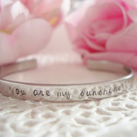 "Stainless Steel Hand Stamped With The Words Of Your Choice 1/4"" Or 3/8""  Cuff Bracelet Customized Personalized"
