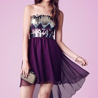 As U Wish Sequin Bodice High/Low Dress (Juniors) | Nordstrom