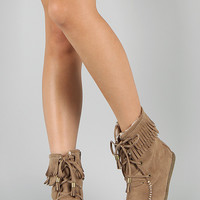 Soda Tying-S Fringe Lace Up Moccasin Bootie
