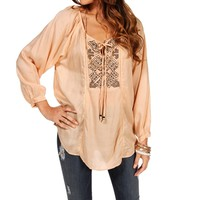 Blush Tie-Front Peasant Top