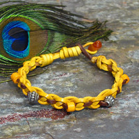 Sunny Yellow Woven Leather Friendship by CatherinesJewelry on Etsy