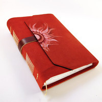 Sun Fire Red Leather Journal Suede Journal / Sketchbook by Baghy