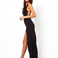 ASOS Deep Plunge Crystal Strappy Maxi Dress