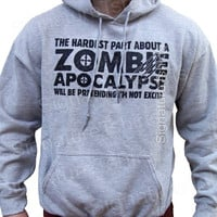 Zombie Apocalypse Mens Sweatshirt Hoodie Horror geek shirt Hooded Christmas sweater womens dad gift hardest part pretending not excited tee