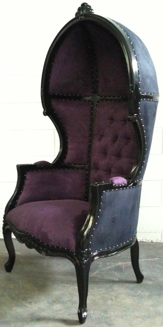 Glamorous Purple & Black Porters Chair