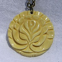 Simulated Ivory Tree of Life Pendant on Antiqued Brass Chain