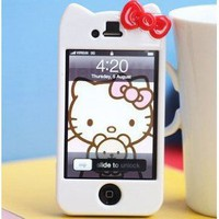 Newest iPhone 4G/4S Hello Kitty Face Hard Case/Cover/Protector(White Case with Red Bow)-by Kaleidoscope