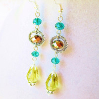 Teal Yellow & Brown Long Dangly Crystal Gypsy Earrings