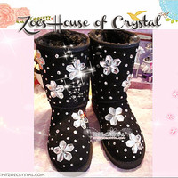 PROMOTION WINTER Black Sheepskin Fleech/Wool Boots with Flowers made with Swarovski / Czech elements