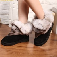 Fox head fox fur leather snow boots  BACFBD