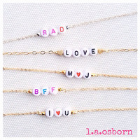 Bead Message Bracelet 14K Gold Filled Sterling Silver by laosborn