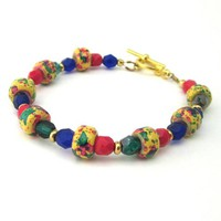 Multicolored bracelet bright yellow red blue green beaded colorful