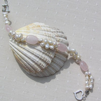 "Crystal Gemstone Bracelet - Rose Quartz & Ivory Freshwater Pearl - ""First Love"""