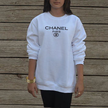 coco chanel sweatshirt in white and gray from celebritee on etsy. Black Bedroom Furniture Sets. Home Design Ideas