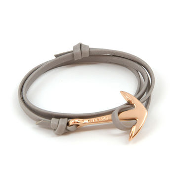 MIANSAI by Michael Saiger :: Anchors :: Rose :: Rose Gold Anchor Bracelet on Gray Leather