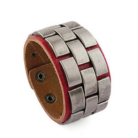 punk style red real leather bracelet with metal rivet, men's jewelry  bangle cuff bracelet, women's leather bracelet  S107-R
