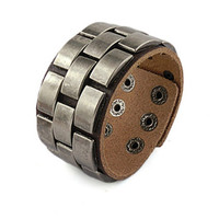punk style brown real leather bracelet with metal rivet, men's jewelry  bangle cuff bracelet, women's leather bracelet  S107-BR