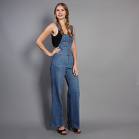 70s DENIM OVERALLS / Boho LEVI'S Bell Bottom Jumpsuit, xs-s