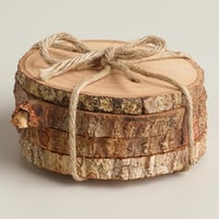 Wood Bark Coasters, Set of 4 - World Market
