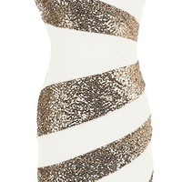 Holiday Swirl Dress | White Gold Sequin Party Dresses | Rickety Rack