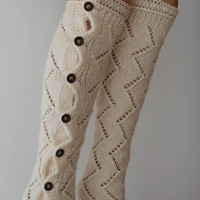 Handknit Creamy White Leg Warmers with Lace Over the Knee Socks Boot Socks Boot Cuffs Birthday Gifts Women's Accessory Fashion Socks