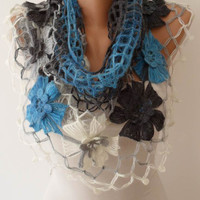 Blue - Gray Wool Crochet Shawl Scarf - Handknit - Winter Scarf