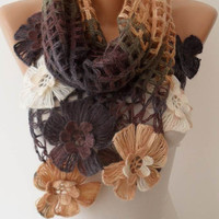 Mother's Day - Caramel - Brown Wool Crochet Shawl Scarf - Handknit - Winter Scarf