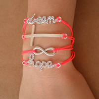 Friendship Bracelet - Neon Pink - Infinity Eternity Cross Hope Dream Bracelet