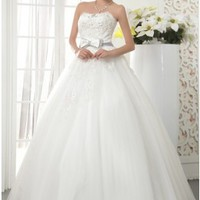 Casual Ball Gown Scoop Neck Lace Appliqued Bust Empire Wedding Dress