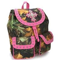 Camo Leaf Studded Cross Backpack Purse Camouflage Bag