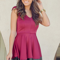 Strut Your Stuff Dress: Maroon/Black | Hope's