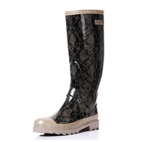 ZLYC Fashion Lace Translucent Thigh High Rain Boots
