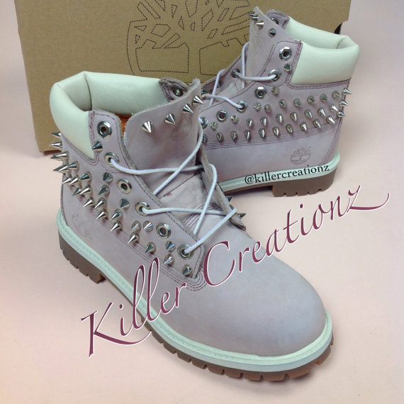custom spiked pink timberland boots made from