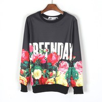 ZLYC GREENDAY Flaming Floral Print Casual Sweatshirt for Women