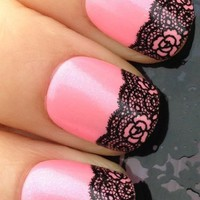 Adored - Nail Stickers Nail art Tattoo Nail Wrap Water Transfer Decals Black Folwer Swirl Lace Mesh