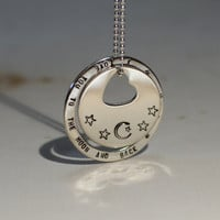 Double disc washer necklace with heart in sterling silver and love you to the moon and back