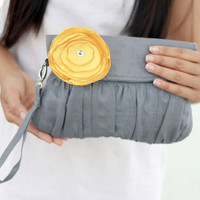 Grey and Yellow Clutch  - Grey Linen clutch with yellow satin flower for Wedding Clutch - Bridesmaid Clutch