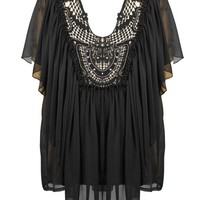 Regal Chiffon Top | Embellished Black Juniors Tops | Rickety Rack
