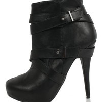 Black Faux Leather Strappy Platform High Heel Ankle Boots Bito