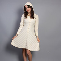 70s Ivory CHEVRON DRESS / HOODED Puff Sleeve Mini, xs-s