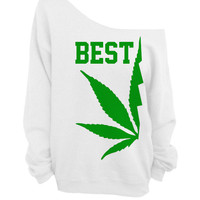 Best Buds - White Slouchy Oversized CREW - BEST