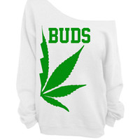 Best Buds - White Slouchy Oversized CREW - BUDS