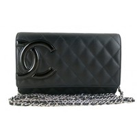 Chanel WOC 2013 Cambon Black Lambskin Wallet on Chain 2.55 Clutch Sling Bag