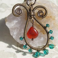 Wire Wrapped Indian Paisley Pendant Antique Brass, Turquoise Orange