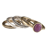 Mixed Metal Dark Purple Ring Set