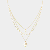Triple Strand Gold Pearl Necklace