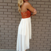 Ivory Hi Low & Rust Lace Bodice Strapless Dress