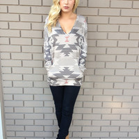 Mocha Southwestern Print Long Sleeve Top